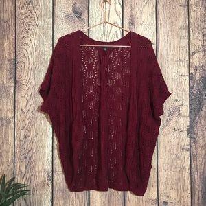 Sweaters - Fever Knit Shrug Cardigan XS Burgundy Sweater